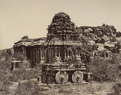 Beejanuggur. The temple of Vothoba. Idol car of stone. [Stone temple car in the Vitthala Temple, Vijayanagara.]